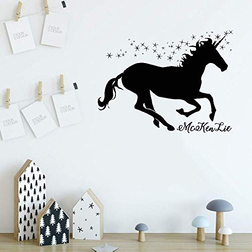 Junome Vinyl Removable Wall Stickers Mural Decal Art Family Decals Personalized Name with Sparkling Unicorn Silhouette for Nursery Kids Room Girls Room Home ()