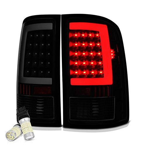 [Full SMD LED Backup Bulbs] VIPMOTOZ Neon Tube LED Tail Light Lamp Assembly For 2007-2013 GMC Sierra 1500 2500HD 3500HD - Matte Black Housing, Smoke Lens, Driver and Passenger Side