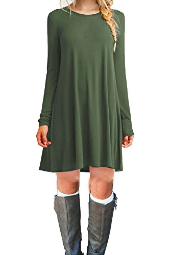 Tinyhi Women's Casual Plain Long Sleeve Loose Swing Cotton Dress, C_armygreen, Small -