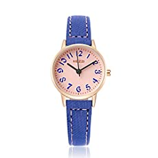 BAOSAILI Kid's Quartz Watch with Pink Dial Analogue Display and Blue Leather Strap