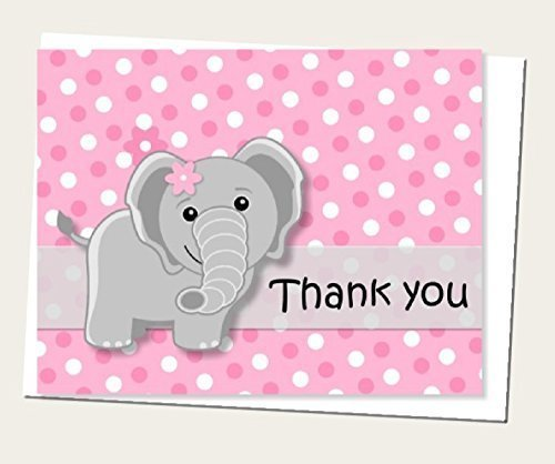 Pink Girl Elephant Thank You Cards and Envelops (Set of 12) - Baby Shower or Birthday Party (1st Birthday Thank You)