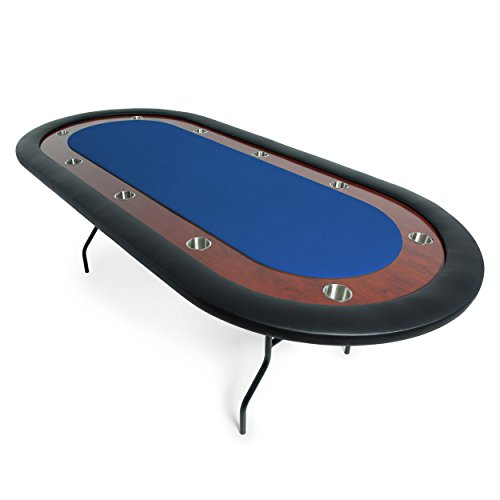 BBO Poker Ultimate Folding Poker Table for 10 Players with Blue Felt Playing Surface, 92 x 44-Inch Oval ()