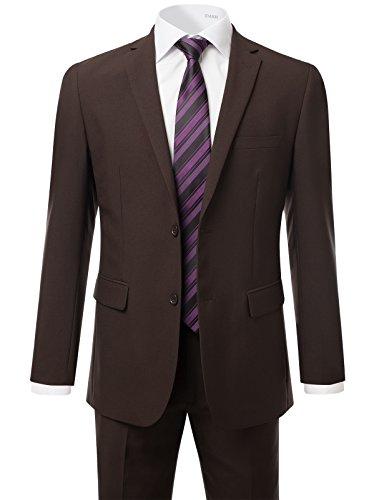Brown Suit Coat (IDARBI Men's Modern Fit Suit 2-Piece Set Blazer & Dress Pants Set BROWN 48L)