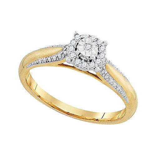 Size 8-10K Yellow Two Tone Gold Round Diamond Halo Circle Engagement Ring - Prong Set Solitaire Center Setting Shape (1/10 cttw.) ()