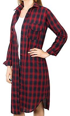 Howels Women Plaid Checkered Shirt Dress Boyfriend Fit Roll-tab Sleeve Blouse