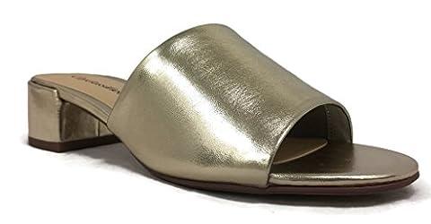 Women's City Classified Open Toe Chunky Heel Suede Slide Sandals MVE Shoes, Gold, 10