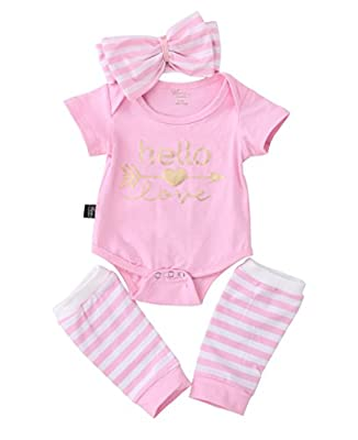 3pcs Newborn Infant Baby Girls Clothes Tops Romper Warm Leggings Outfit with Headband Set