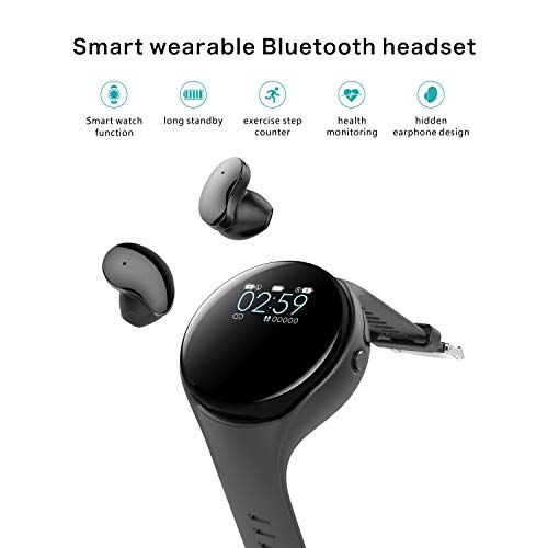 Smart Watch with TWS Wireless Earbuds, 2-in-1 Fitness Tracker Watch Charging Earbuds Sports Smart Bracelet with Heart Rate Monitor, Sleep Monitor, Step Counter for Women and Men