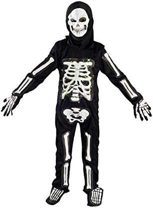 MONIKA FASHION WORLD Skeleton Costume for Boys Kids Light up Chest Halloween Size Medium Large (5-7) L (7-9)