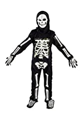 Skeleton costume with mask and gloves and shoe cover.It is battery operated and glows / lights up when the button inside the white pouch is turned on.Sometimes battery compartment slips inside the chest part. Please look inside for the wire, ...