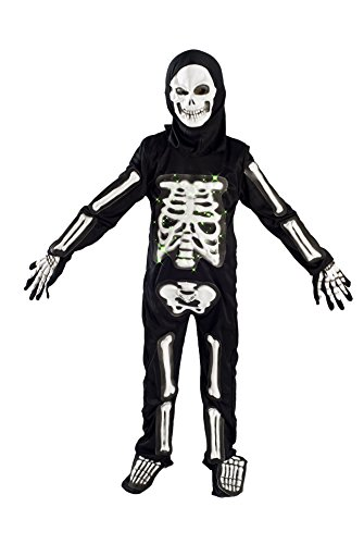 MONIKA FASHION WORLD Skeleton Costume for Boys Kids Light up Halloween Size M (5-7) L (6-9)]()