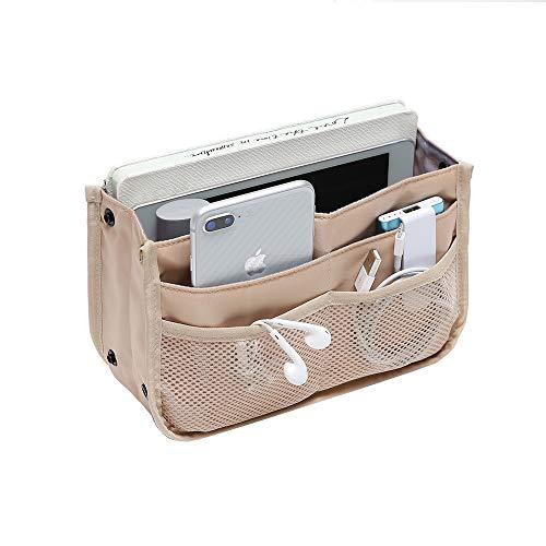 iN. Multi-Pocket Handbag Organizer Insert for Tote Bag Purse Liner Insert Small Womens Handbag Organization Medium Fashionable and Practicable Folding Nylon Mesh Large Travel Pocketbook Liners Khaki