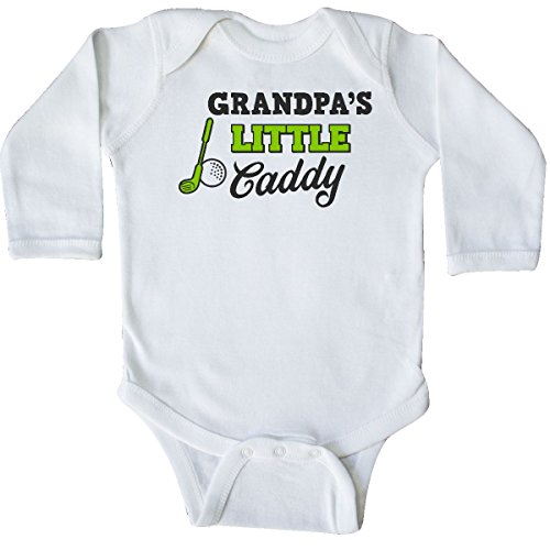 inktastic Grandpas Little Caddy with Golf Long Sleeve Creeper Newborn White