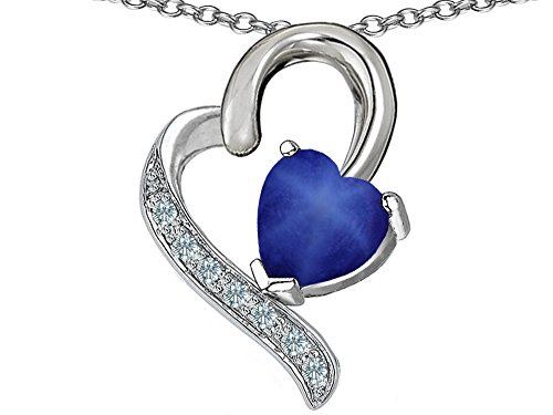 Star K 7mm Heart-Shape Created Star Sapphire Heart Pendant Necklace