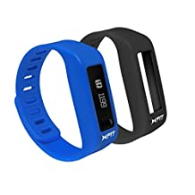 """XFIT Wireless Bluetooth Activity/Fitness Tracker Watch with 5 on screen Display modes for iPhone 6, 6 Plus 5S 5 4S 4 Galaxy S5 S4 S3 iPad Mini 3 2 1 Air 2 Air 1 iPad 3 iPad 4 iPod Touch Gen 5 Galaxy Note 2 Tab 4 10.1"""" (w/ Android 4.4.2) (Blue/Black)"""