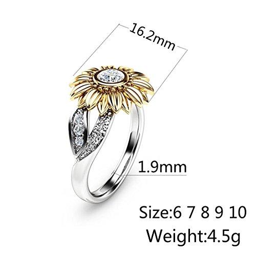 beaa9adec1f28 DALARAN Cubic Zirconia Rings for Women Sunflower Eternity Band for Girls  Fashion Ring Size 7
