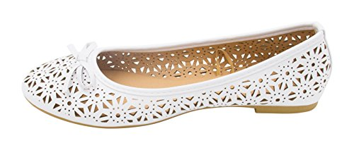 Sara Z Womens Laser Cut Perforated Slip On Ballet Flat With Bow White 4wZQVRdixH