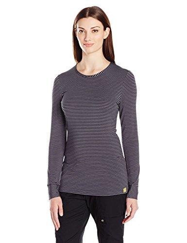 WonderWink Women's Layers Striped Long Sleeve Tee, Black/Pewter Small