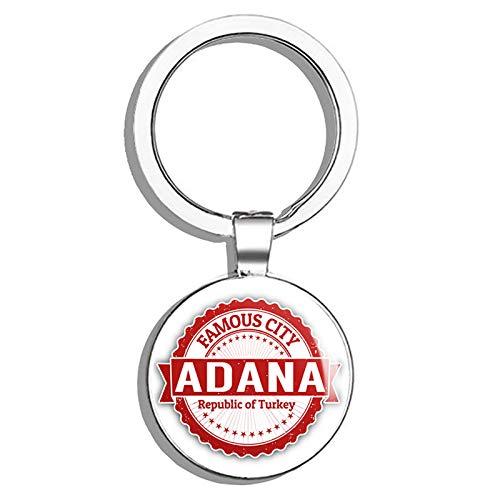 (Glover Trading Adana City Turkey Grunge Travel Stamp Round Stainless Steel Metal Key Chain Keychain Ring Double Sided Deisgn)