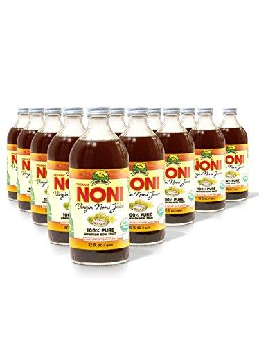 Virgin Noni Juice - 100% Pure Organic Hawaiian Noni Juice - 12 Pack of 32oz Glass Bottles by Virgin Noni Juice (Image #2)