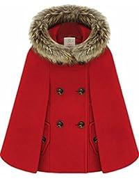 HTOOHTOOH Women's Winter Warm Fur Hooded Cape Wool Poncho Pea Coat Drape