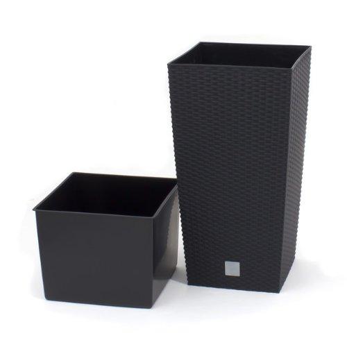 Terra Vase Rato aus Kunststoff mit Einsatz, Grau, 60 cm