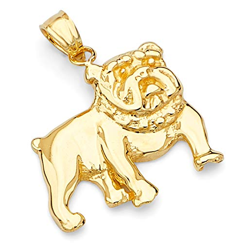 14k Yellow Gold Bulldog Pendant
