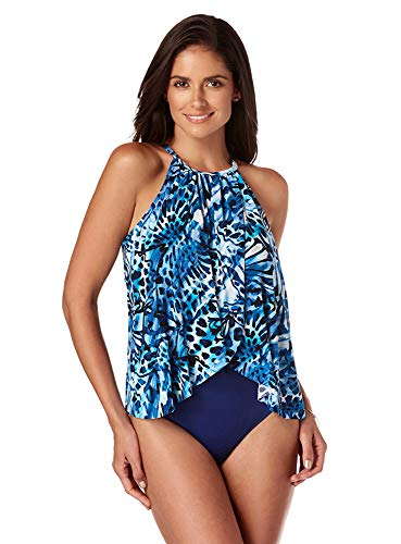 Magicsuit Women's Swimwear Monarch Aubrey High Neck One Piece Swimsuit with Soft Cup Bra and Halter Straps, Blue, 12]()