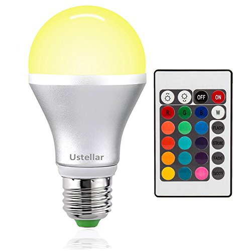 Ustellar rgb led light bulb e26 base color changing with remote control for party home for What color light bulb for bedroom