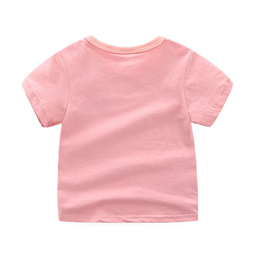 Toddler Boys Girls T-shirts Tops Organic Short-sleeved Cute Animals Prints Embroidery Unisex 2t-7t (4T, Pink1) by KiKi Shop (Image #1)