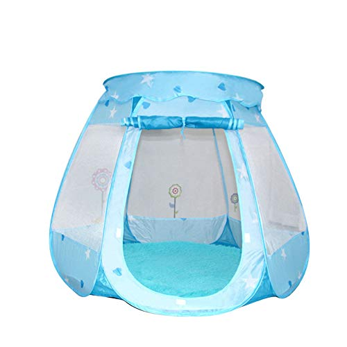 TENCMG Pop Up Children Play Tent - Large Children Playhouse Ball Pit w/Storage Case - for Children Indoor and Outdoor Games,Blue,125x125cm/49x49in (Ladybug Ball Pit)
