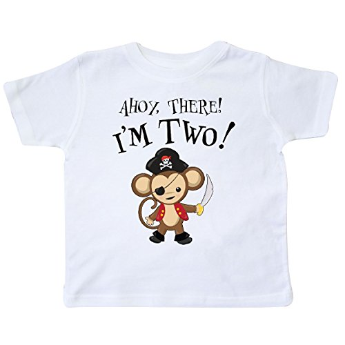 - inktastic - Ahoy, There! I'm Two!- Pirate Monkey Toddler T-Shirt 2T White 28655