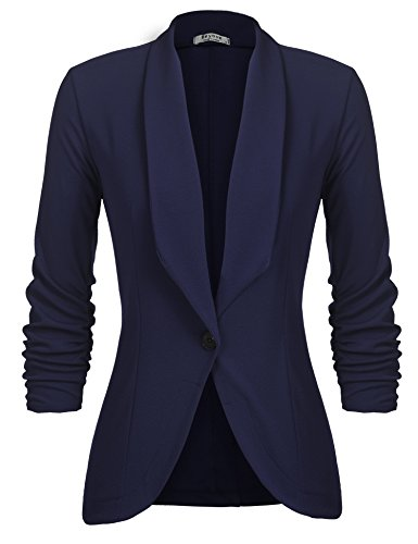 Beyove Women's Casual Work Office Blazer Jacket Open Front Solid Color Cardigan Navy Blue M