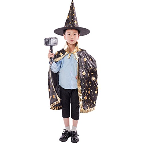 Childrens' Halloween Costume,kaifongfu Wizard Witch Cloak Cape Robe and Hat for Boy Girl (Black)