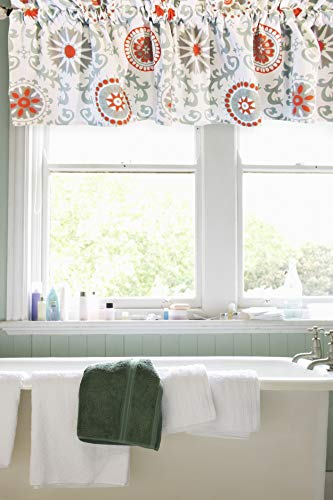 Crabtree Collection Curtain Valance for Windows Blue/Orange Medallion (16 x 60) ...