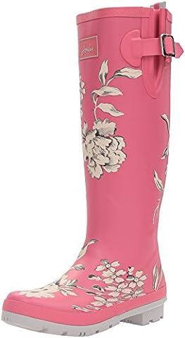 Joules Women's Wellyprint Rain Shoe, True Pink Floral, 7 M US - Wellies
