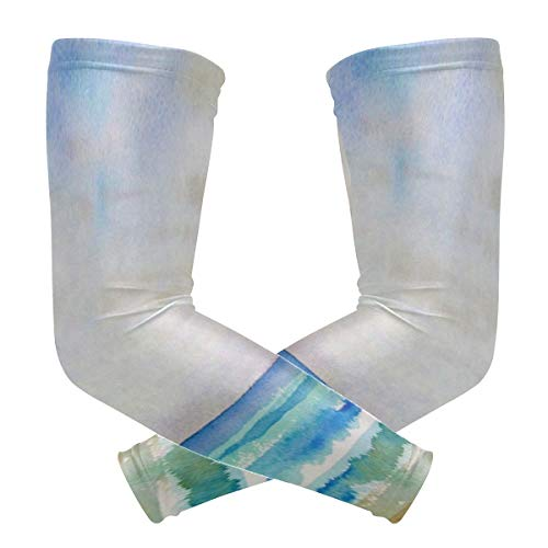 Arm Sleeves Watercolor Seascape Beach Man Baseball Long Cooling Sleeves Sun UV Compression Arm Covers