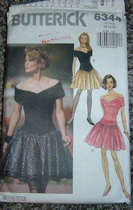 Butterick Pattern 6344 Misses Evening/Poofy Prom Dresses, Sz. 12/14/