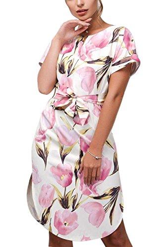 Urlaub Kleid Frauen Kurze Elegante Pink rmel Blumenmustern Bowknot 5XXwzYq