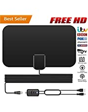 TV Aerial, Indoor TV Aerial, Over 60+Miles Long Range Access Freeview TV Aerial- Support 4K 1080P HD/VHF/UHF Freeview Channels for All Types Built-in Tuner Home Smart Television/Radio【2019 Newest】