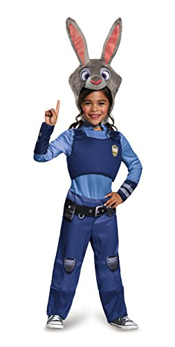 Cop Halloween Costume Girl (Judy Hopps Classic Zootopia Disney Costume, Medium/7-8)