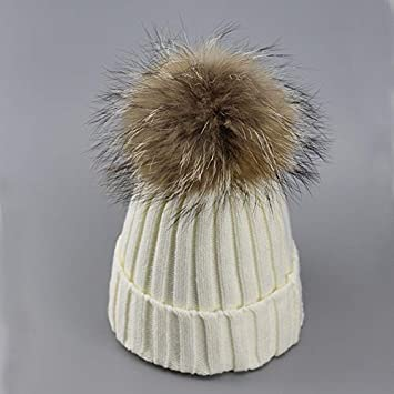 b114a7d878c HOKUGA  Real Fur Winter Hat Raccoon Pom Pom Hat For Women Brand Thick Women  Hat