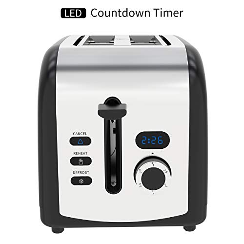 Toaster 2 Slice, Retro LED Timer Display Stainless Steel Toaster with Reheat, Cancel, Defrost Function (Black)