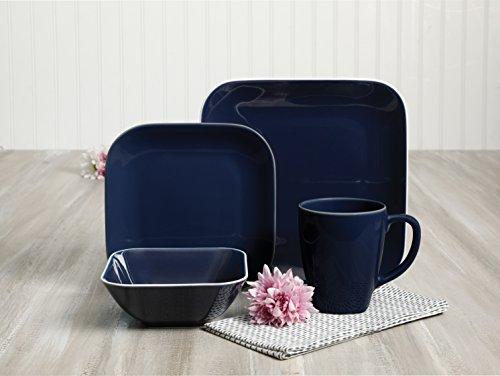 - Gibson Home 124018.16rm Dance 16 Pc Dinnerware Set Soft Square Cobalt Stoneware