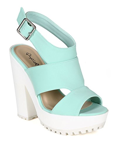 Qupid CB85 Women Nubuck Open Toe Cut Out Lug Sole Platform Chunky Heel Sandal - Menthol (Size: 8.5)