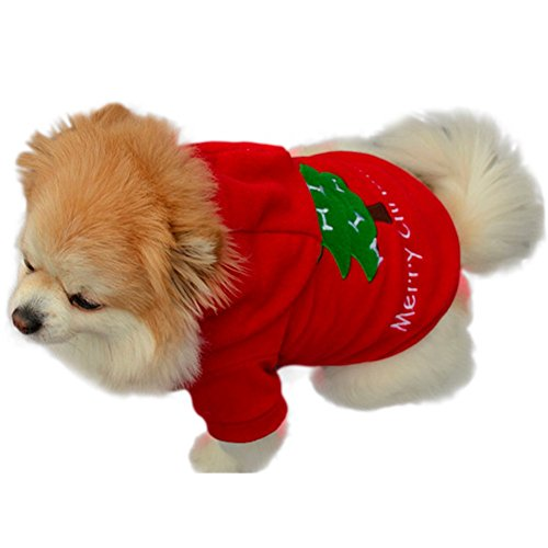 iEFiEL Pets Dogs Cats Christmas Tree Fleece Warm Hoodie Holiday Costume Fancy Outfit Red M