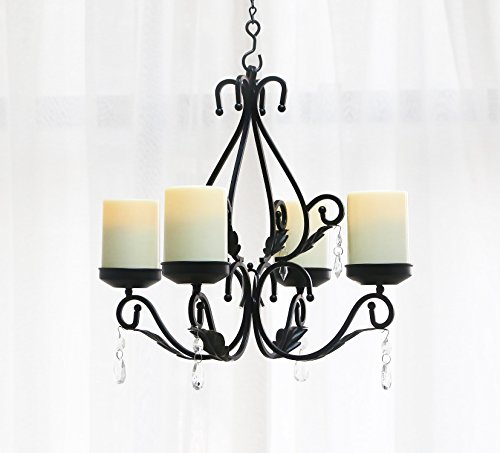 Sconce Candle Tall Lighting - GiveU 3 IN 1 Lighting Chandelier, Metal Wall Sconce Set of 2, Table Centerpiece for Indoor or Outdoor, Chain and Candles Included, Black