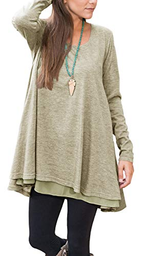 Floral Find Women Long Sleeve Lace Hem Blouse Layered Scoop Neck Tunic Loose Fit Dress (XX-Large, A-Khaki)