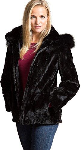 Fox Black Microfiber Jacket - Caryn Reversible Mink Fur Jacket with Fox Fur Trim