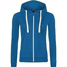 WearAll Women's Zip Up Long Sleeve Plain Hoodie Top